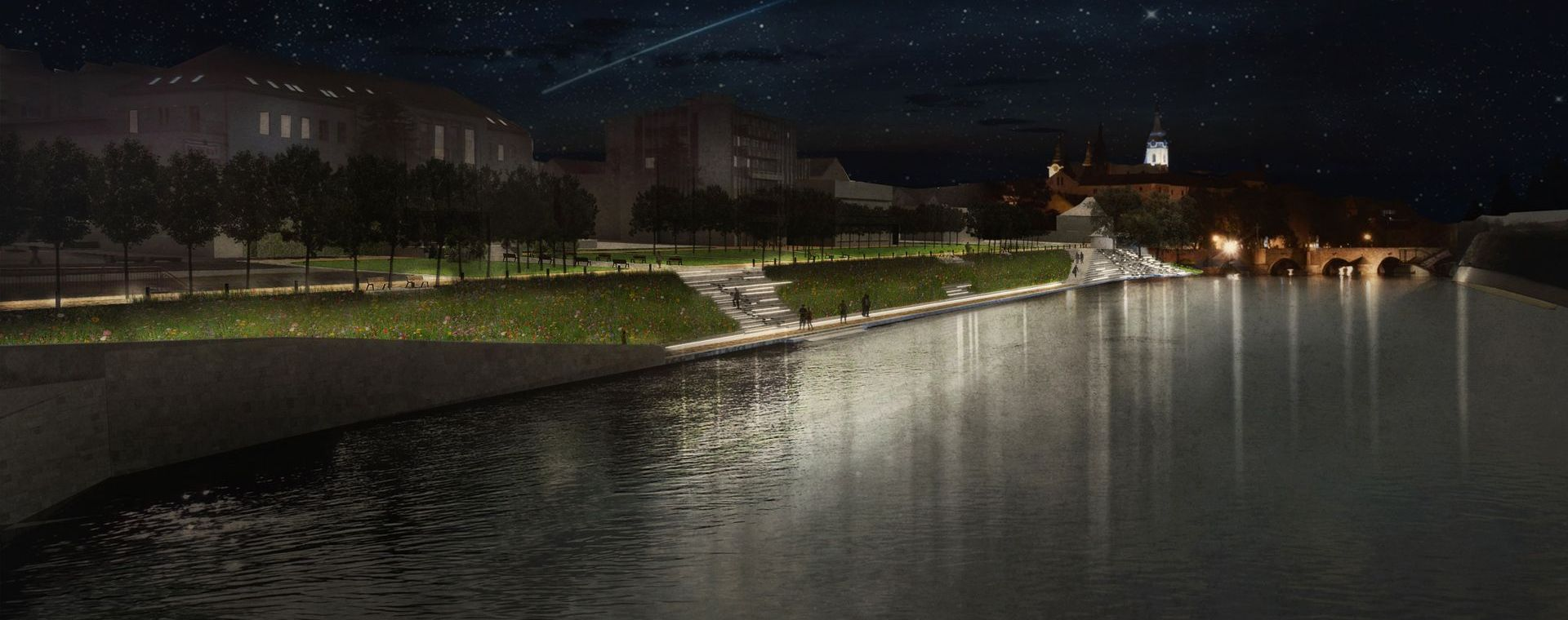 The architectural competetion to The city of Písek, CZ, the river side of Otava river 2013-2015