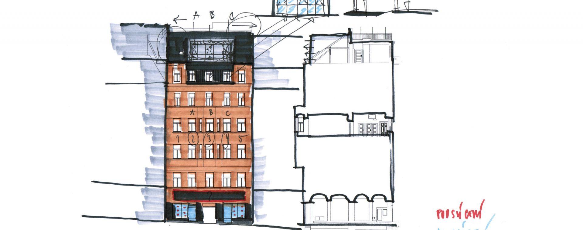 The reconstrution of the polyfunctional block of flat, Prague - Letná, Milady Horákové 32, Prague 7, 2011-2015, CZ
