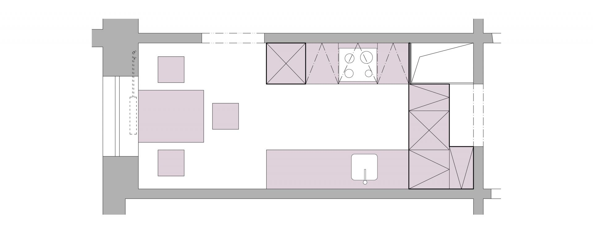 The concept of the kitchen in Prague - Modřany, 2013-2014, CZ