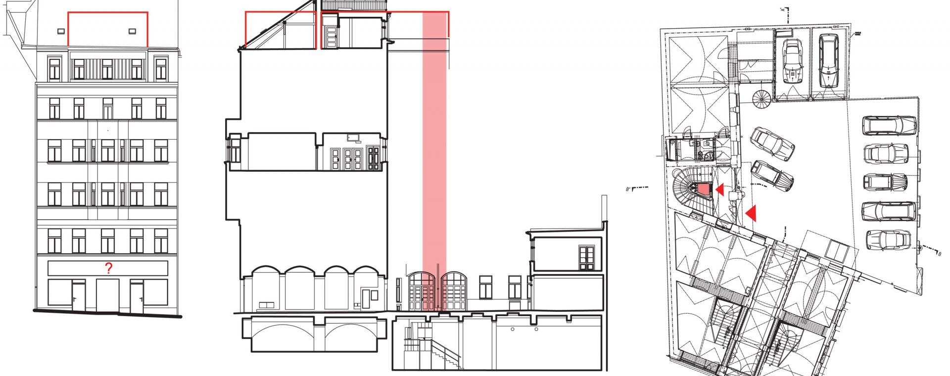 Návrh rekonstrukce polyfunkčního bytového domu na Letné, Milady Horákové 32, Praha 7, 2011-2015, CZ