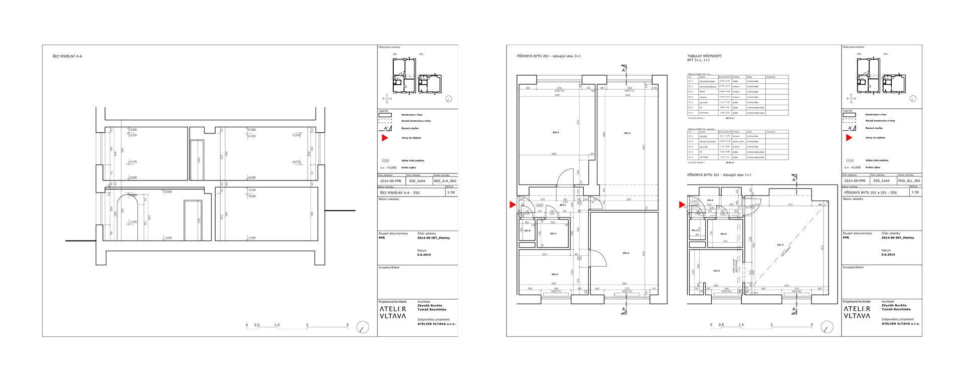 Rekonstrukce 2 bytových jednotek na mezonet, Petřiny, Praha, 2014, CZ