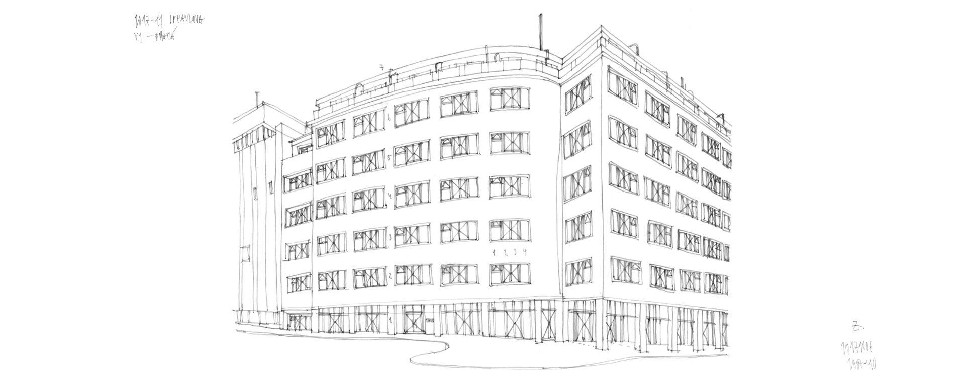 Architektonická studie na úpravu parteru tří domů a prostor I.P.Pavlova v Praze 2, Praha 2, 07/2017, CZ