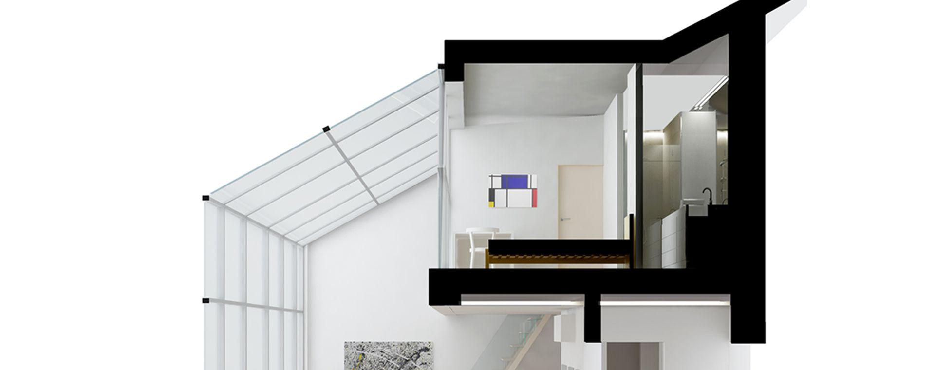 Návrh studie duplexu a realizace na Praze 8, duplex, mezonet, Na Kopečku 2, Praha 8, 2017-2018, CZ