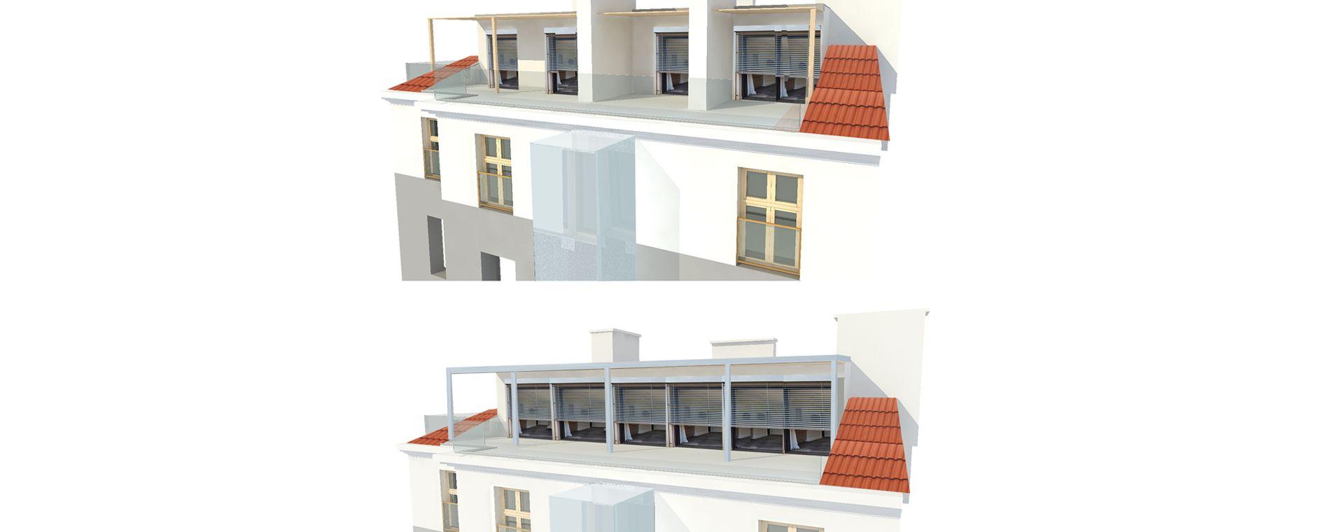 A duplex project renovation /maisonette, attic, mezonet and loft /and realization with an elevator, Korunovační 15, Prague 7, 2017-2021, CZ