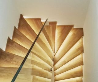We have built up another stairs and duplex in Prague, we like this stairs, it is not easy to done this!