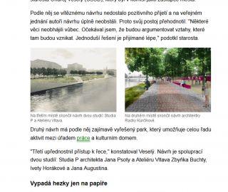 Atelier Vltava v MF Dnes 08/11/2013 - o našem soutěžním návrhu do Písku